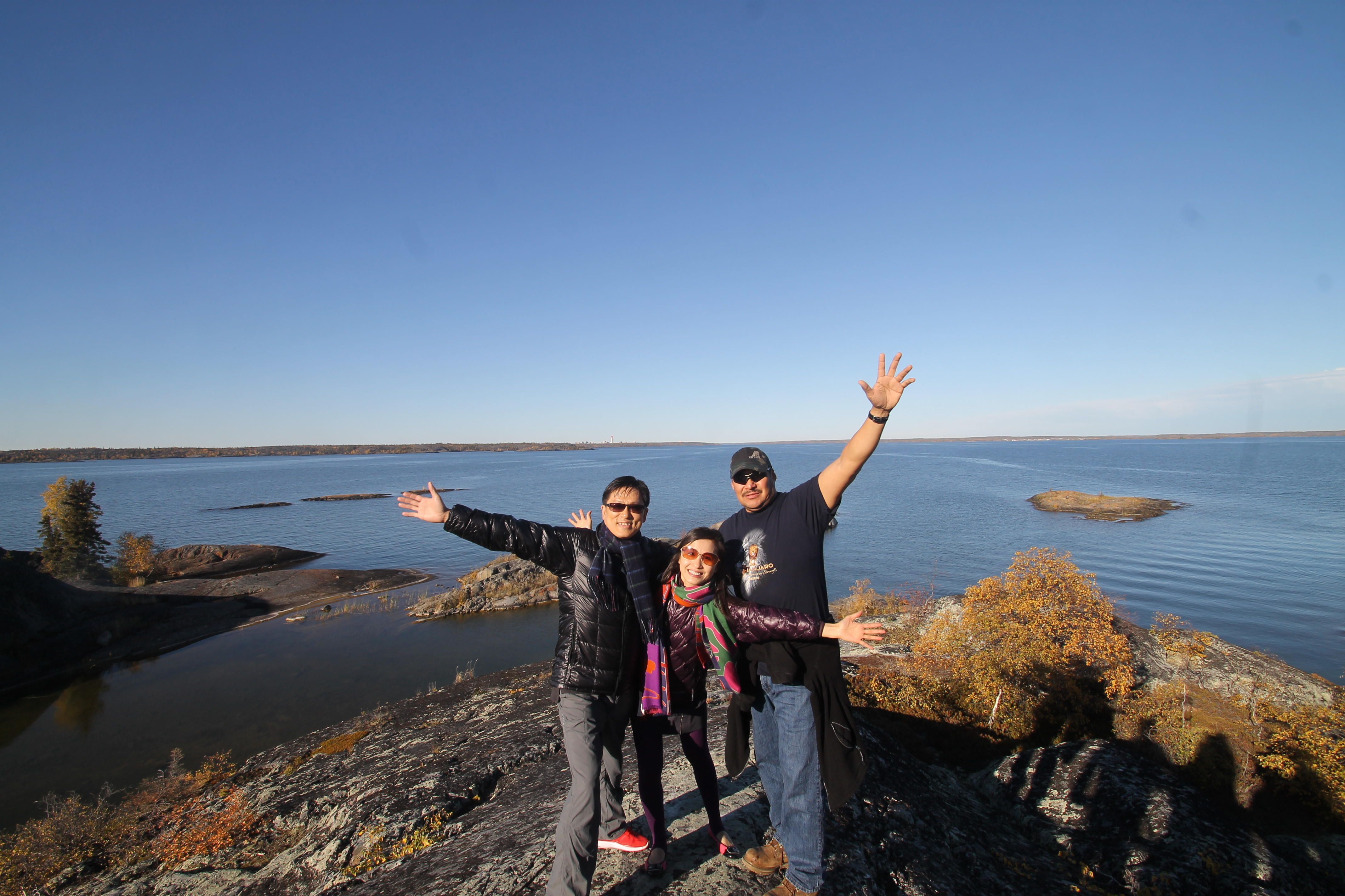 North Star Adventures guests enjoying our Great Slave Lake Boat Tour, what a view!