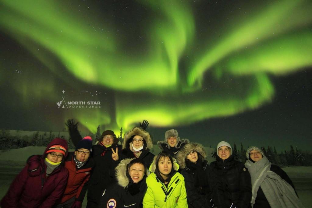 North Star Adventures guests enjoying winter Aurora